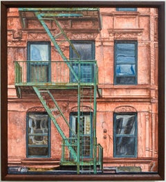 14th St. & 7th Ave (Photo-Realist Oil Painting of Classic NYC Red Building)
