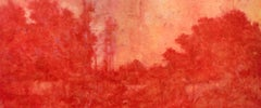 Fallow Field (Impressionist Abstracted Red Landscape Oil Painting on Canvas)