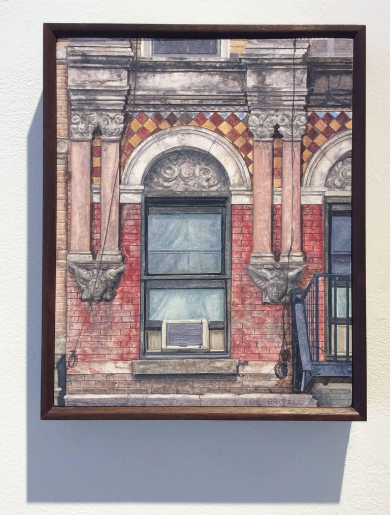 Madison Street (Photo-Realist Still Life Painting of NYC Red Brick Building) - Beige Still-Life Painting by Richard Britell
