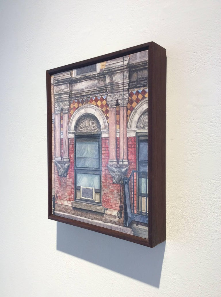Photo-realist oil painting of a red brick building on Madison Street in Manhattan's Lower East Side.  oil on wood in artist made dark wood frame 10 x 8 inches  This contemporary, realistic oil painting of a New York City building was painted by