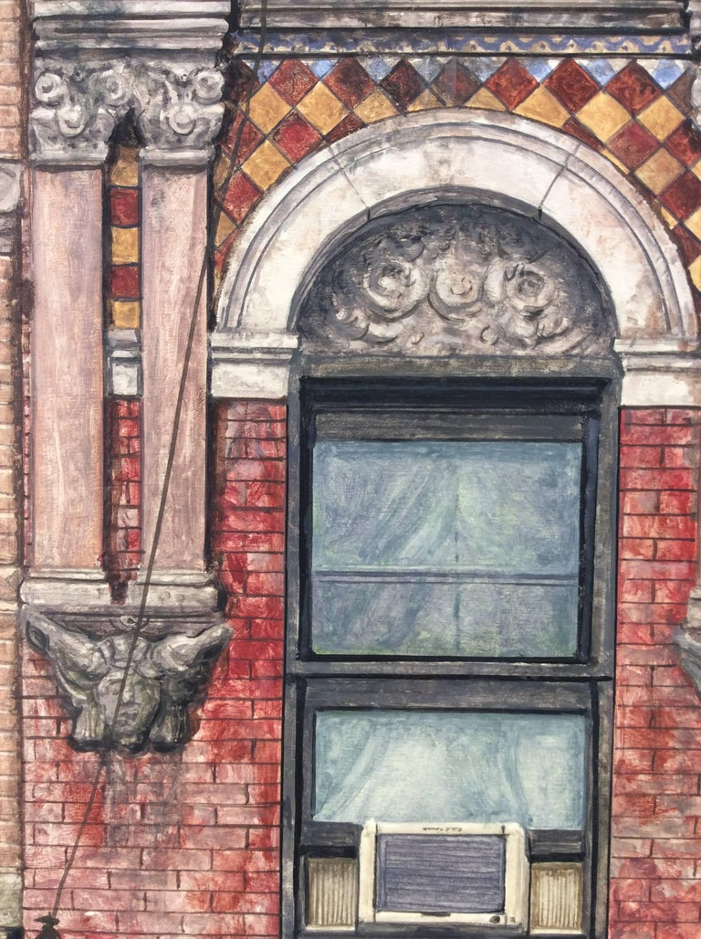 Madison Street (Photo-Realist Still Life Painting of NYC Red Brick Building) For Sale 1