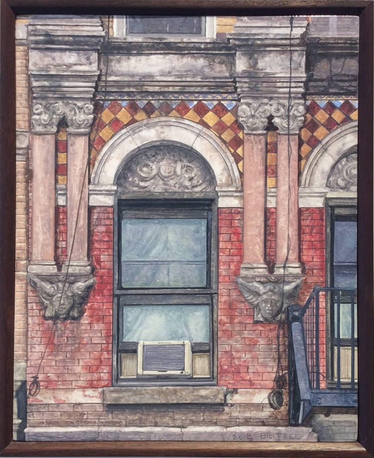 Madison Street (Photo-Realist Still Life Painting of NYC Red Brick Building)