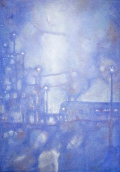 Midnight Special (Impressionist Periwinkle Blue Landscape Oil Painting, Canvas)