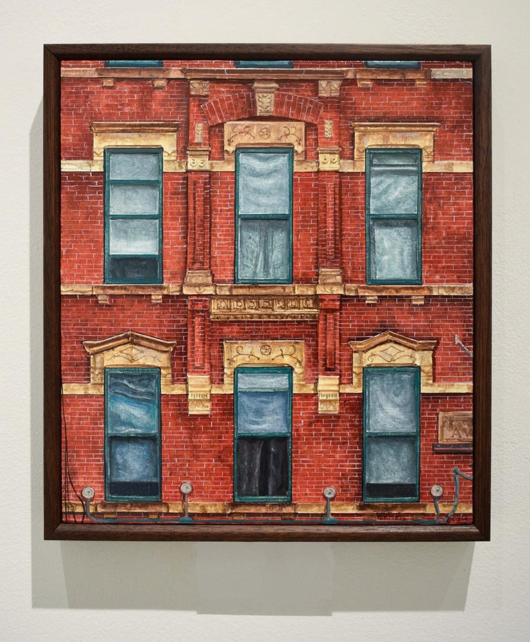 Red Square (Photo-Realist Oil Painting of NYC Red Brick Building, Framed) For Sale 1