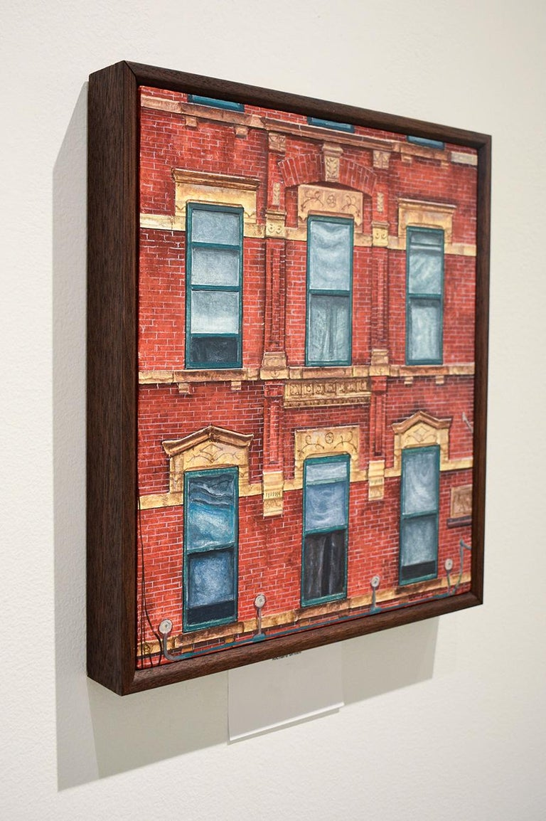 Red Square (Photo-Realist Oil Painting of NYC Red Brick Building, Framed) For Sale 3