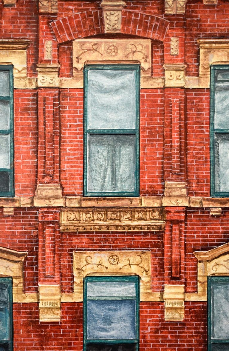 Red Square (Photo-Realist Oil Painting of NYC Red Brick Building, Framed) For Sale 4