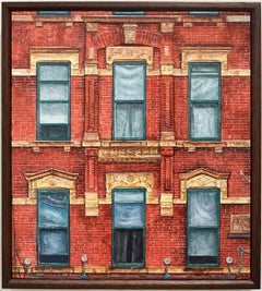 Red Square (Photo-Realist Oil Painting of NYC Red Brick Building, Framed)