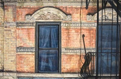 Rivington (Photo-Realist Oil Painting of Classic NYC Brick Building)