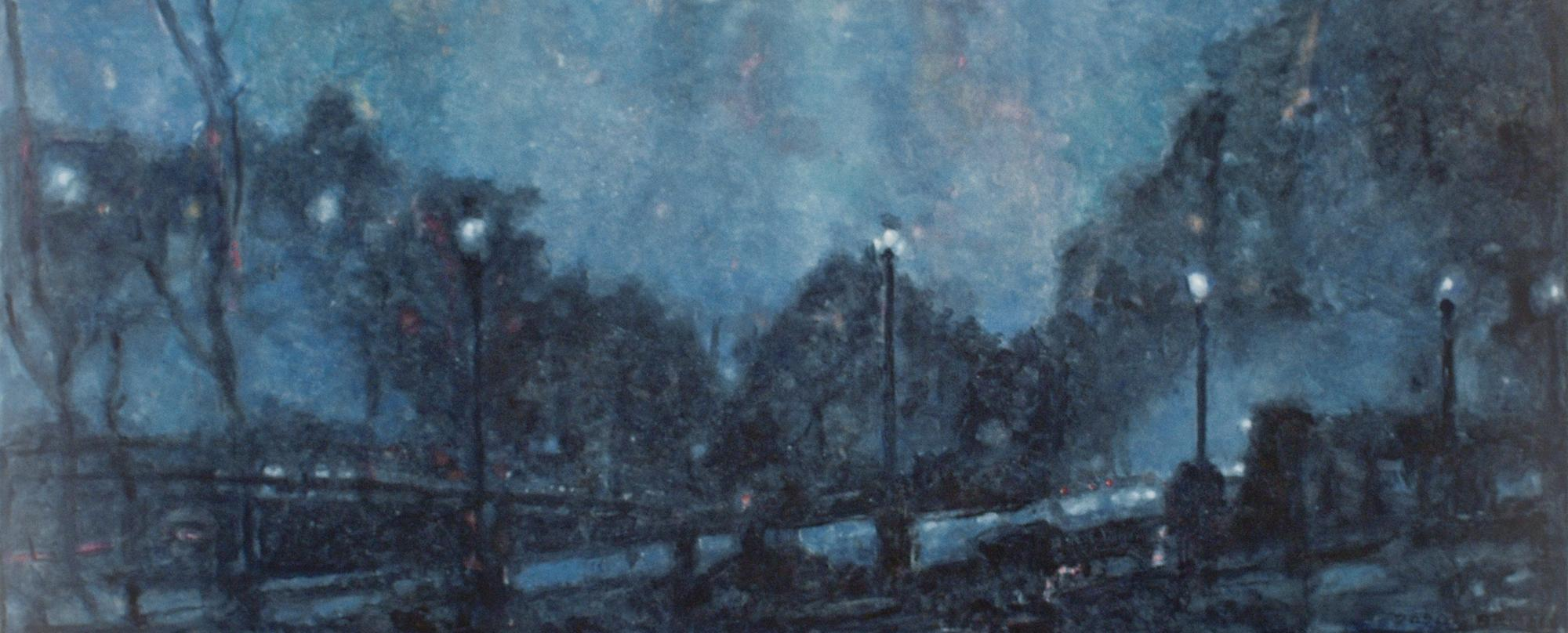 Saw Mill (Impressionist Monochromatic Blue Landscape Oil Painting on Canvas)
