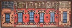 Six Windows, Myrtle Ave (Photo-Realist Oil Painting of Classic NYC Red Building)