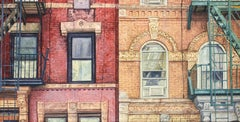 St. Marks (Photo-Realist Oil Painting of Classic NYC Brick Building)
