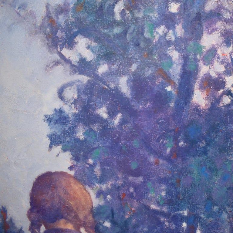 Two Sisters (Vertical Monochromatic Blue Landscape Oil Painting on Canvas) For Sale 2