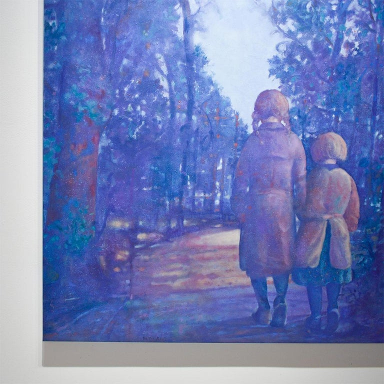Two Sisters (Vertical Monochromatic Blue Landscape Oil Painting on Canvas) For Sale 3