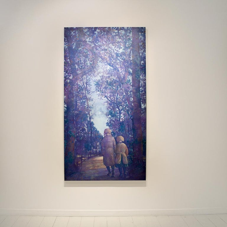 Two Sisters (Vertical Monochromatic Blue Landscape Oil Painting on Canvas) For Sale 4