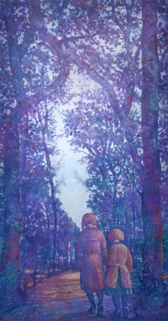 Two Sisters (Vertical Monochromatic Blue Landscape Oil Painting on Canvas)