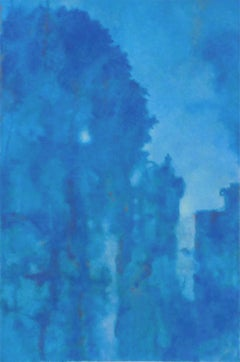 Versailles (Abstract Monochromatic Cerulean Blue Landscape Painting on Canvas)