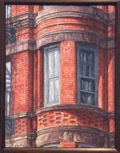 West Side Walk Up (Photo-Realist Still Life Painting of NYC Red Brick Building)