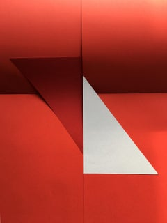 Abstraction, geometry, red, white, Signals#6