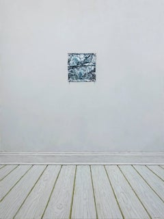 ALUMINUM FOIL PINNED TO A WALL, white wall, tin foil, hyper-realism