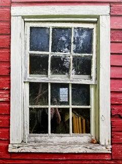 BARN WINDOW, photo-realism, old window, weathered farmhouse, red, reflection
