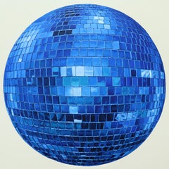 Blue Disco Ball, Photorealist Painting, Mirror, Reflections, Cobalt