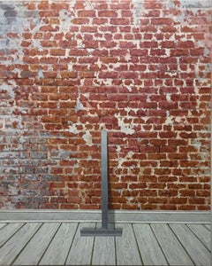 CENTER POINT, photo-realism, exposed brick wall, red, white, metal frame, wood