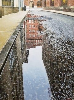 COLLISTER STREET REFLECTION New York City, Puddle, Tribeca, Cobblestone, Old NY