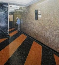 COMMUNICATION, NYC Elevator, Interior, Cityscape, Figure, Old Building, New York