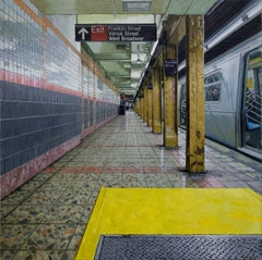 CONVERGENCE, hyper-realist, new york city subway stop, train station, yellow
