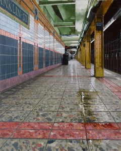 DOWNTOWN PLATFORM FRANKLIN ST. SUBWAY, photo-realism, nyc subway stop