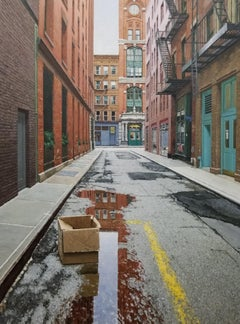 EARLY MORNING IN THE CITY, New York City, Puddle, Tribeca, Cobblestone, Old NY
