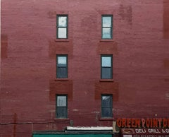 GREENPOINT DELI, photo-realism, red brick wall, side of apartment, brooklyn