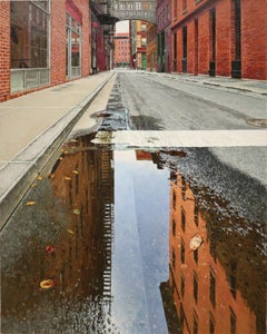 MORNING REFLECTION STAPLE STREET TRIBECA, hyper-realist, reflection in puddle