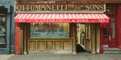 OTTOMANELLI'S BLEEKER ST, store front, hyper-realist, new york city, red, brown