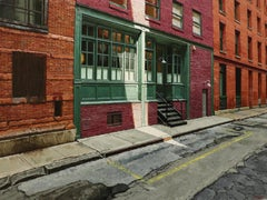 SHAFT OF LIGHT, new york city, hyper-realist, old building, green, red brick