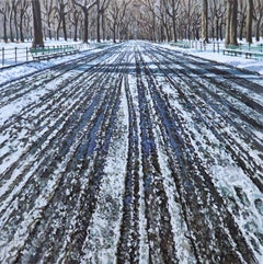 Snow Tracks in Central Park, Contemporary Landscape, Oil Painting, City Park