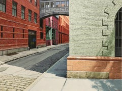 SUNDAY MORNING, Hyper-realist, street corner, cobblestones, red brick, shadows