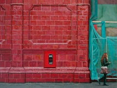 TERRACOTTA WALL, photo-realistic, bright red wall, green, women on the street