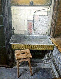 THE OLD SINK, NYC Interior, Basement, Tiles, Pattern, Realism, Wood, Rustic