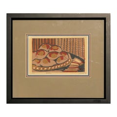 """""""Pastry"""" Red, Blue, Yellow, and White Patterned Still Life Woodblock Print"""