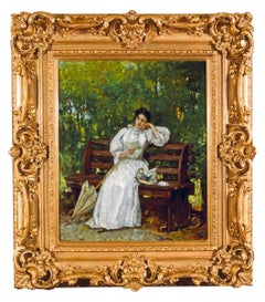 "19th Century portrait of a Woman titles ""A Quiet Afternoon in the Park"""