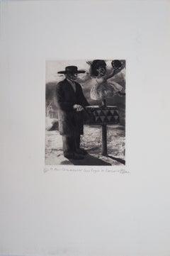Barrel Organ and Ballerina - Original Handsigned Etching - Ltd 25 copies