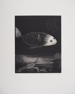 Small Soldier Travelling in a Fish - Original Handsigned Etching - Ltd 60 copies