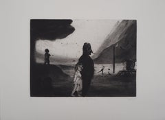Young Girl at the Funfair - Original Handsigned Etching - Limited 30 copies