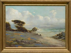 Carmel Seascape with Veteran Cypress, Lupines and Poppies