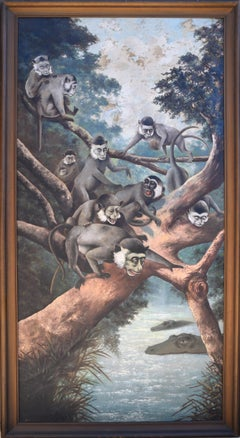 """Noah's Ark"" Monkeys in Trees and Crocodiles 1924 San Mateo"