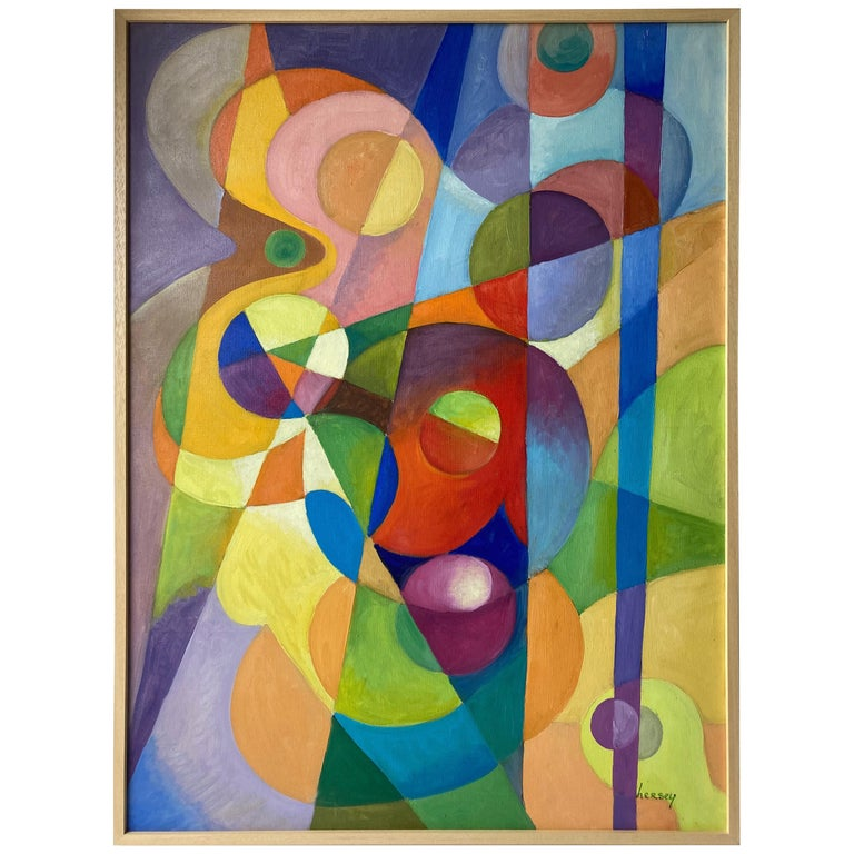 "Richard ""Dick"" Hersey large  Oil Painting on Canvas, Abstract/Geometric, Signed For Sale"
