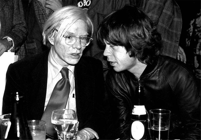 Richard E. Aaron Black and White Photograph - Andy Warhol and Mick Jagger, NYC, 1977