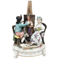 Richard Eckert & Co., an Artist and his Model, German Porcelain Group, ca. 1890s