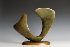 Crescendo - minimalist bronze pedestal sculpture green patina by Richard Erdman